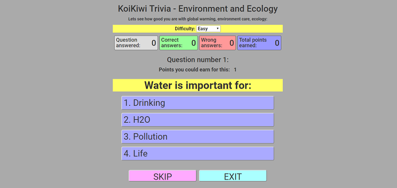 Koikiwi play cool ecological and environmental friendly games